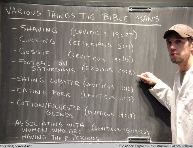 The Bible bans all this too - a chalkboard list from Leviticus